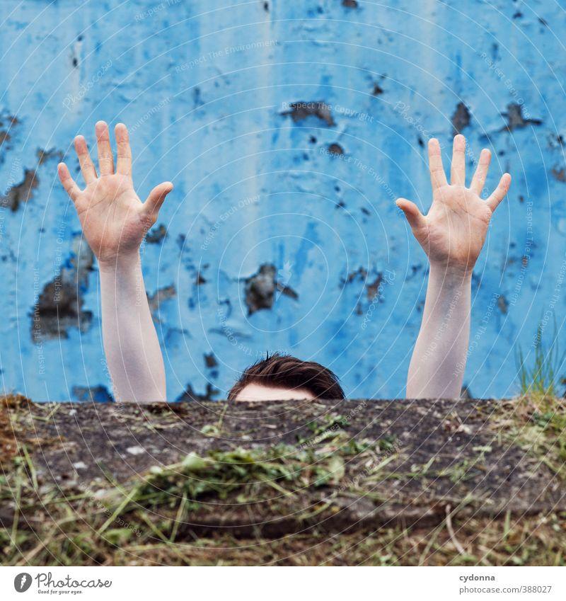 Hände hoch Leben Bildung Berufsausbildung Prüfung & Examen Mensch Junger Mann Jugendliche Arme Hand 18-30 Jahre Erwachsene Mauer Wand Scheitel anstrengen