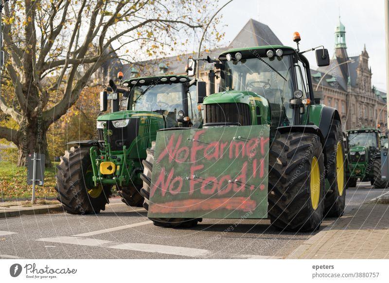 Traktorprotest Bauernprotest in Hamburg Deutschland demo Demonstration traktordemo bauernprotest EU Subventionen Plakat hamburg