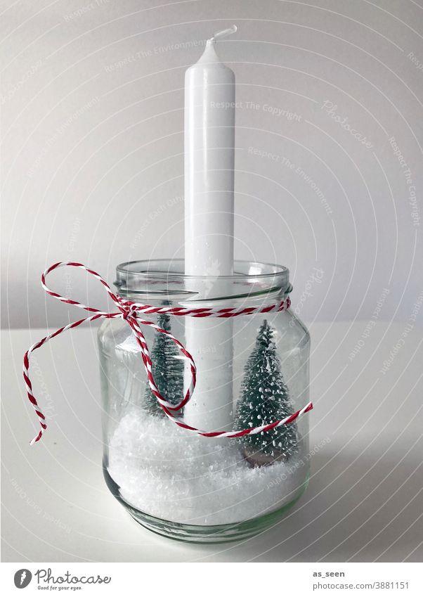 Weihnachtsdeko Dekoration & Verzierung Kerze rot weiss Schnee Tannenbaum DIY basteln selbermachen weiß grün grau weihnachtlich verschneit Weihnachten & Advent