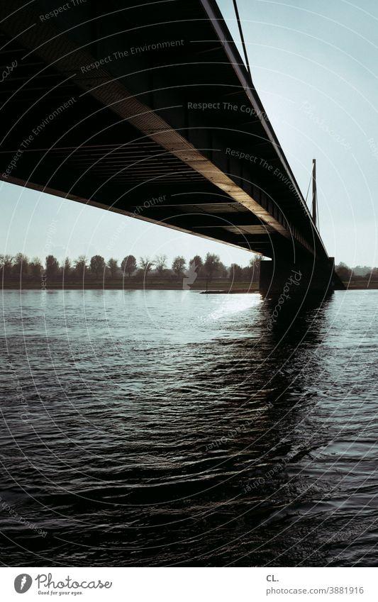 rheinbrücke Brücke Fluss Rhein Düsseldorf Architektur Himmel Theodor-Heuss-Brücke Wasser