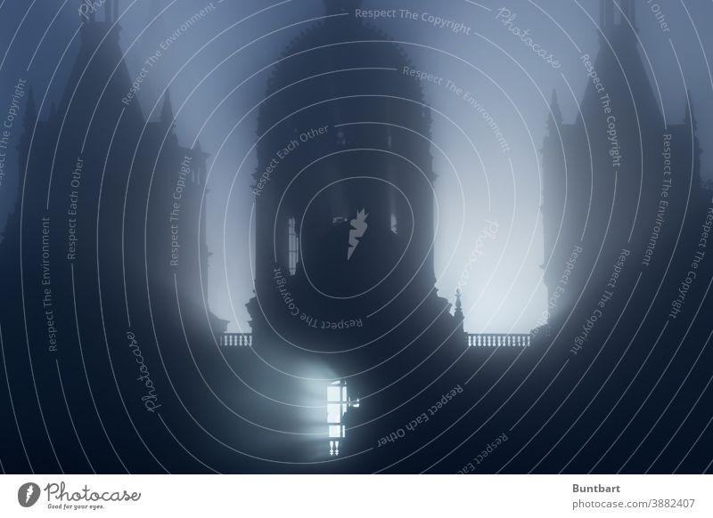 Silhouette des Schweriner Schlosses im Morgennebel Burg oder Schloss Architektur Gebäude Außenaufnahme historisch alt Sehenswürdigkeit Bauwerk Menschenleer