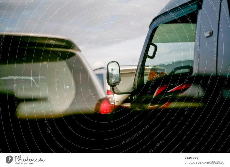 Hauptverkehrszeit PKW Marmelade Straße Eile überfüllt Automobil Business Autobahn Transport Verkehr urban Großstadt Stunde Verschmutzung modern Fahrzeug Linie