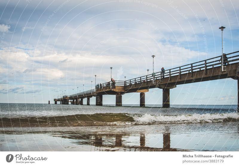 Wind und Wellen an der Seebrücke Ahlbeck Insel Usedom Ostsee Brücke Architektur Strand Wasser Himmel Wolken Landschaft Ferien & Urlaub & Reisen Tourismus Meer
