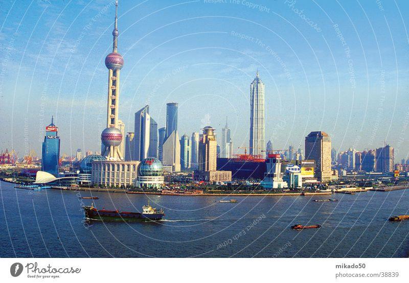 Shanghai Wasser Himmel blau Stadt China Erfolg Hochhaus