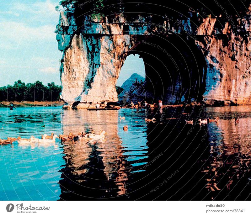 elefantenfelsen_guilin China Baum Ferien & Urlaub & Reisen Wasser Felsen blau Idylle