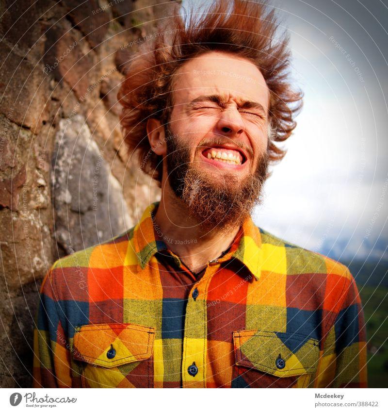 Bitte lächeln :) Mensch Jugendliche blau grün weiß rot schwarz Erwachsene Gesicht gelb Junger Mann 18-30 Jahre Haare & Frisuren grau Kopf braun