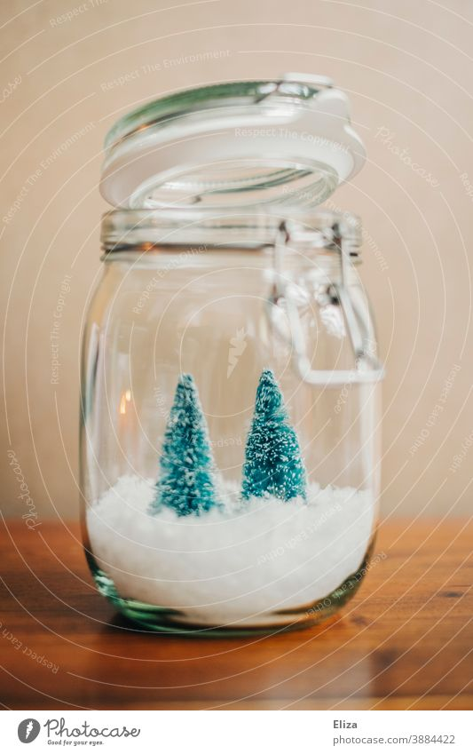 Weiße Weihnachten im Glas - Zwei kleine Tannenbäume auf Schnee in einem Einmachglas Dekoration Weihnachtsdekoration Lichterkette weihnachtlich