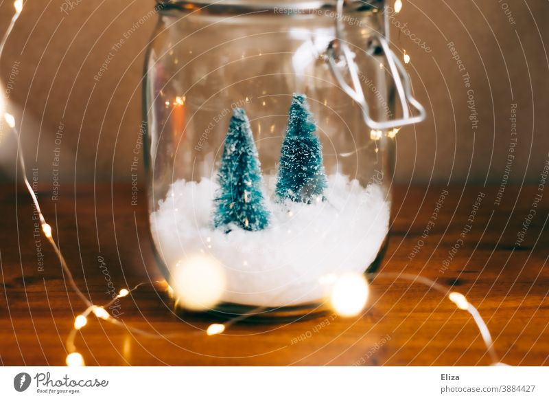 Weiße Weihnachten im Glas - Zwei kleine Tannenbäume auf Schnee in einem Einmachglas mit Lichterkette drumherum Dekoration Weihnachtsdekoration weihnachtlich
