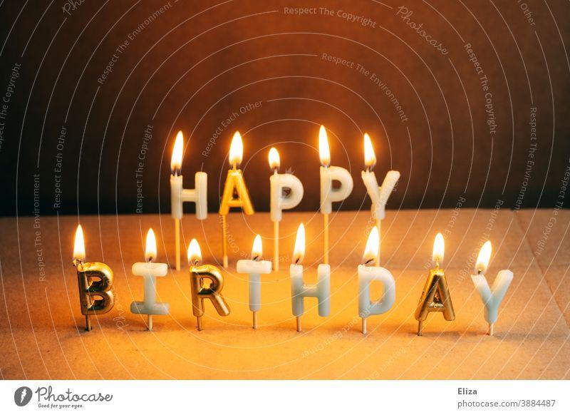 Brennende Happy Birthday Kerzen Geburtstag brennend Geburtstagskerzen Schriftzug