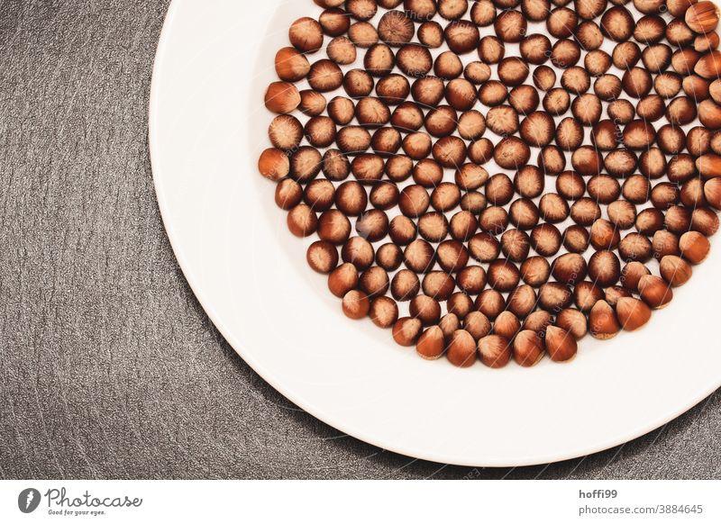 Haselnüsse auf einem großen Teller Ernährung Haselnuss haselnussbraun viele Nüsse viele Haselnüsse Detail der Haselnuss Rundes Muster sortiert nußbraun Holz