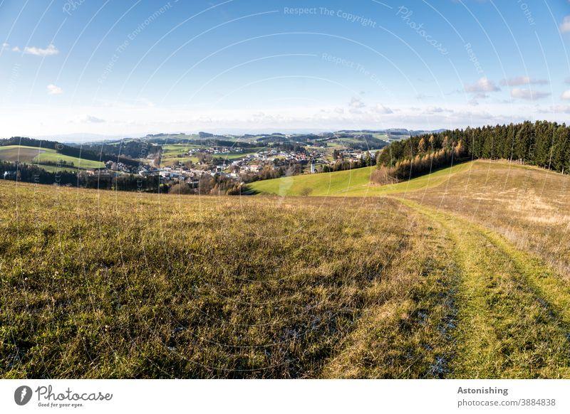 Blick auf Bad Zell Mühlviertel Aussicht Weite Ferne Landschaft Weg Pfad Ort Ländlich Wald Feld Landwirtschaft Tal Himmel Horizont Wolken Wiese Grün blau Häuser