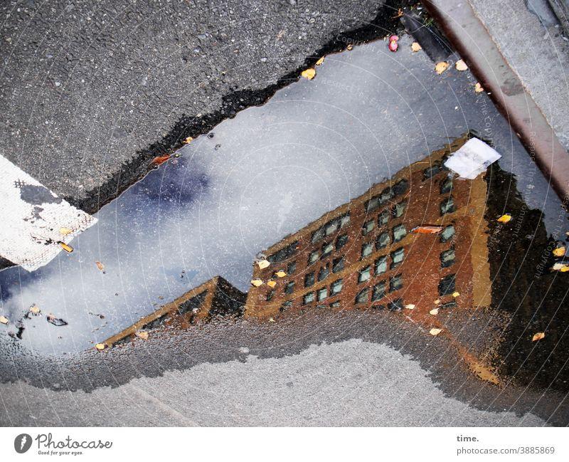 Höhen und Tiefen Haus Hochhaus pfütze straße spiegelung reflexion absatzkante aspahlt teer bordstein blätter müll streifen Verkehrszeichen himmel sonnig nass