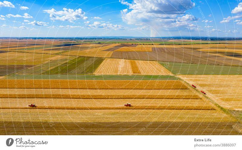 Draufsicht auf zwei Mähdrescher, Erntemaschinen, erntereifen Mais und blauen Himmel mit weißen Wolken oben Antenne landwirtschaftlich Ackerbau Müsli