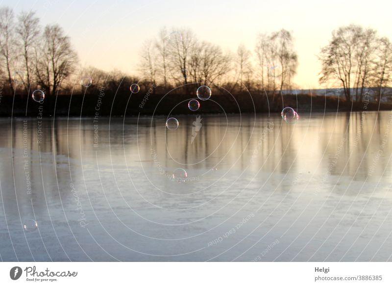 Seifenblasen über dem gefrorenen See in der Morgensonne Winter Frost Eis Licht Schatten Gegenlicht Landschaft Natur Umwelt morgens fliegen Leichtigkeit kalt