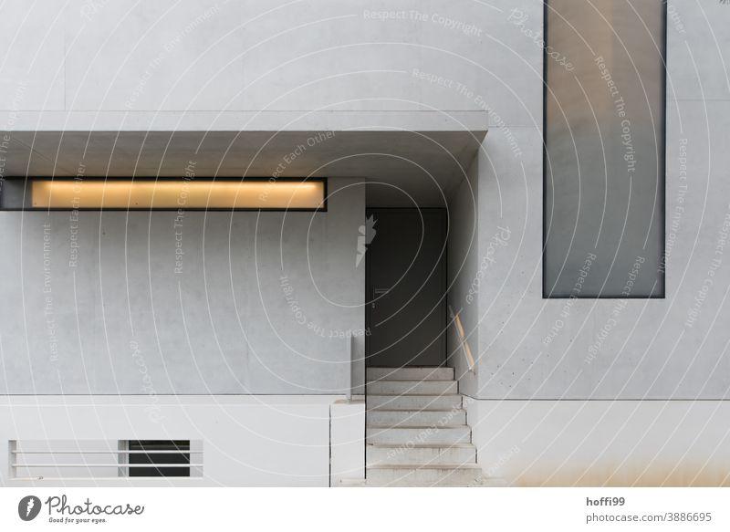 Eingang, Licht und Fenster - moderne Architektur Beton Betonmauer Bauhaus Bauhaus-Stil minimalistisch Moderne Architektur moderne Architektur außen grau