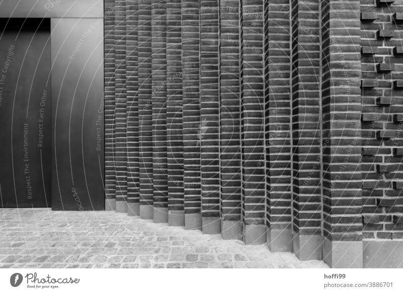 moderne Ziegelreihen Baustein Muster Bauwerk Fassade Backsteinwand Backsteinfassade Wege & Pfade Spalte grau minimalistisch Architektur Linie Design Wand