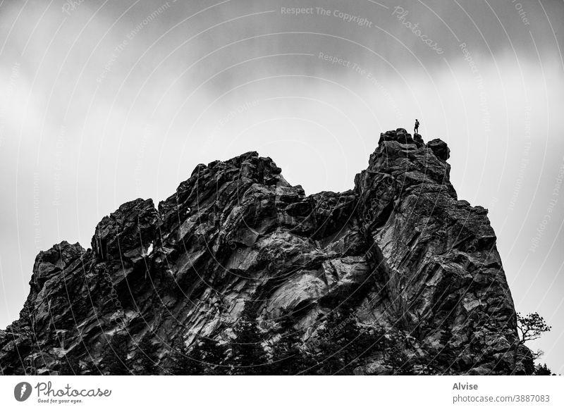 Fels und Mensch eins Colorado chautauqua Felsbrocken amerika Park Aufsteiger Aufregung extrem Emotion Landschaft Rucksack Höhe Abenteuer Wanderung Freiheit