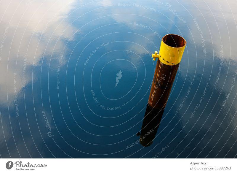 Grundlos Himmel Spiegelung im Wasser Reflexion & Spiegelung Anleger Wolken See grün blau Landschaft Traumland träumen Farbfoto Menschenleer Fluss Spree Seeufer