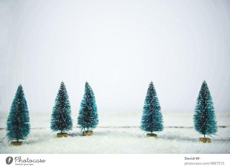 Weihnachten - Tannenbäume miniatur in einer Schneelandschaft Miniatur Winter Winterstimmung winterlich Wintertag weiß Winterwald