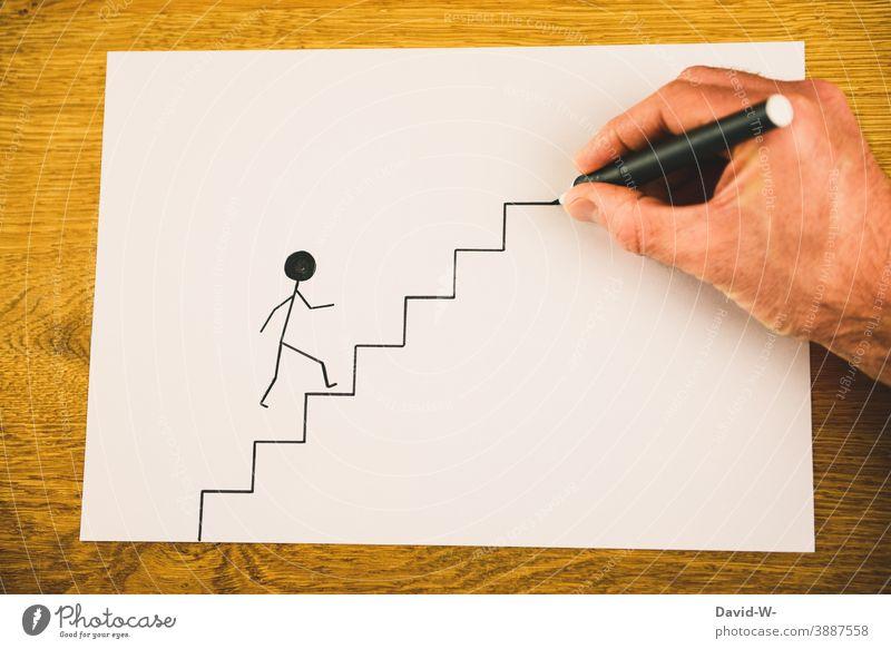 es geht aufwärts Erfolg aufsteigen Karriere Treppe Strichmännchen Konzept hilfestellung Kreativität Erfolgsaussicht helfende Hand Perspektive