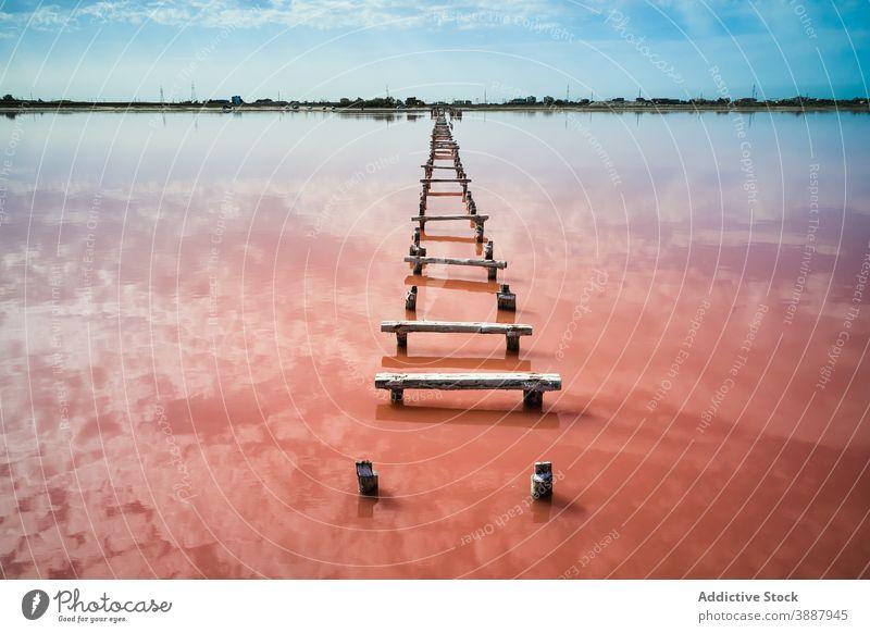 Hölzerne Promenade im rosa Wasser des Sees Weg Pier Laufsteg Natur Landschaft Brücke salzig Mineral reisen Tourismus malerisch Seeufer erstaunlich Hafengebiet