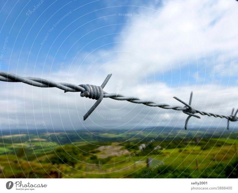 abgesperrt... Draht Stacheldraht Stacheldrahtzaun Landschaft Zaun Absperrung verboten Sicherheit Gefahr gefährlich Grenze Barriere Schutz Verbot bedrohlich