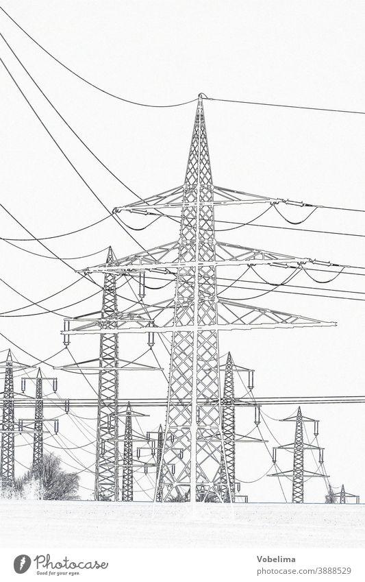 Hochspannungsmasten, graphisch bearbeitet Hochspannungsleitung überlandleitung stromleitung strommast strommasten energie hochspannung energiegewinnung graphik