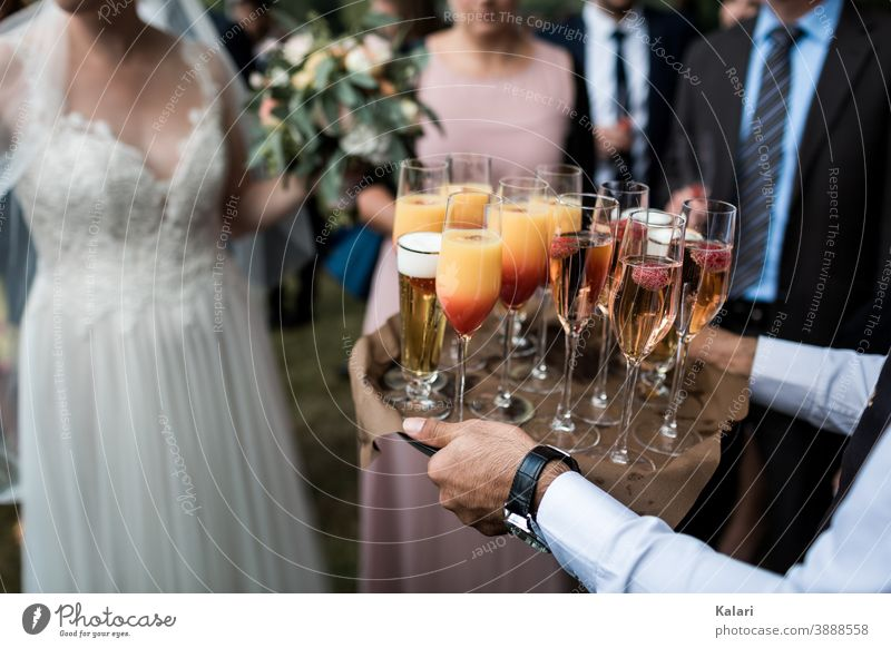 Kellner im Hemd trägt Tablett mit Aperitif auf Hochzeit, Braut im Hintergrund Sekt Sektglas Alkohol Champagner Prosecco Schwache Tiefenschärfe Feste & Feiern
