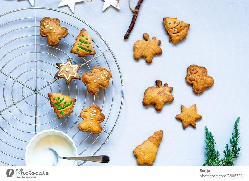 Lebkuchen Kekse verzieren mit Zuckerguss auf einem Gitterrost Zuckerguß gebacken Weihnachten & Advent selbstgemacht Dekoration & Verzierung Feiertag Tradition