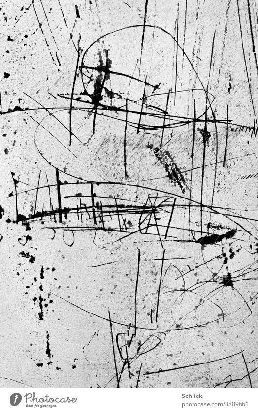 Insolvenz abstrakte Zeichnung auf einem mit weißer Farbe undurchsichtig gemachten Schaufenster schwarzweiß Herz Striche Gekritzel linien Detail Nahaufnahme Glas