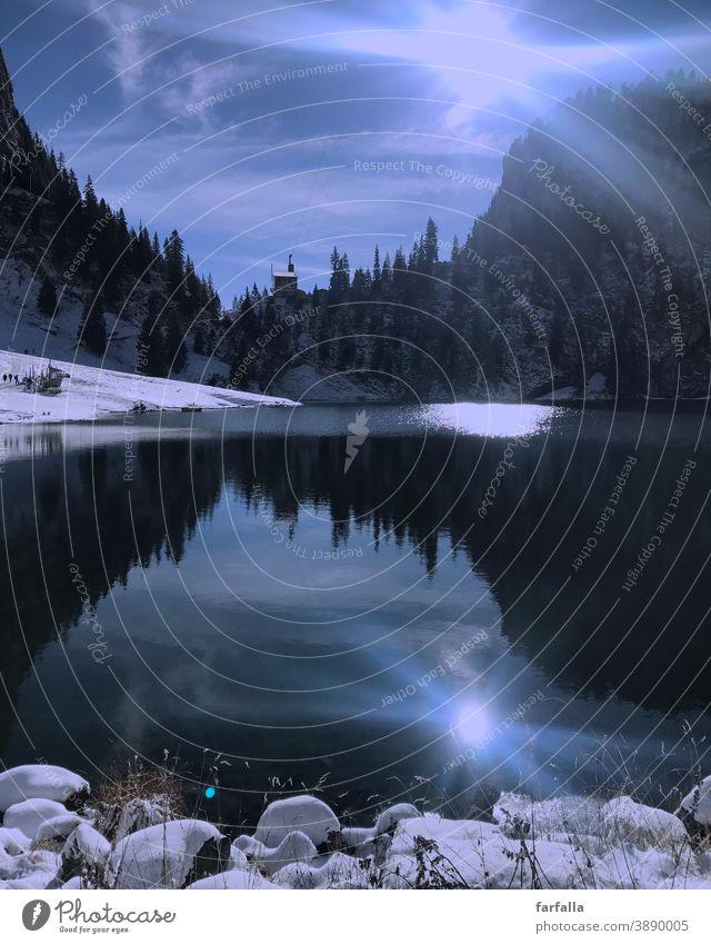 Bergsee. Bergen Schweiz swissmountains lake myswitzerlamd blau Spiegelung reflection winterwonderland Winter kalt klar Wintersonne Natur Reflexion & Spiegelung