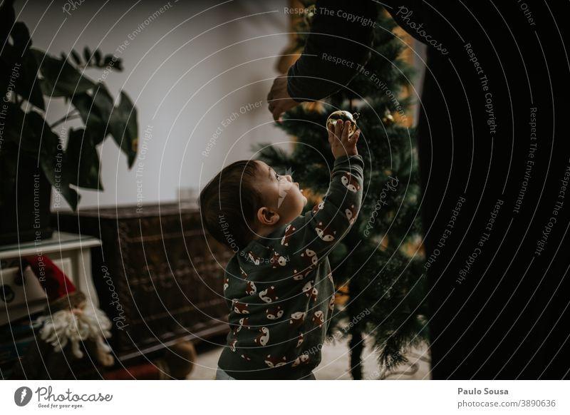 Mutter und Sohn schmücken den Weihnachtsbaum dekorierend Weihnachten & Advent Weihnachtsdekoration festlich Weihnachtsstern Tanne Winter Dekoration & Verzierung