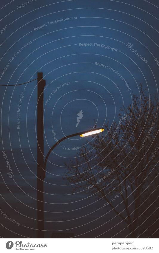 Straßenlampe im Abendhimmel Himmel Menschenleer Außenaufnahme blau Straßenbeleuchtung Lampe Laterne Licht Beleuchtung Wolken Dämmerung dunkel Nacht