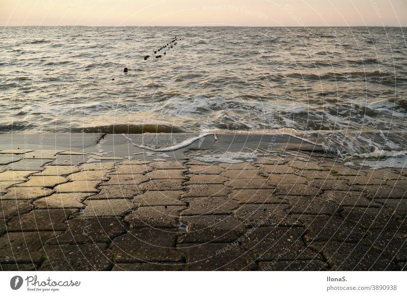 Flut an der Nordsee Nordseeküste Strand Meer Wasser Wellenbrecher Küste Ebbe Gezeiten Nass Wattenmeer Ostfriesland Erholung