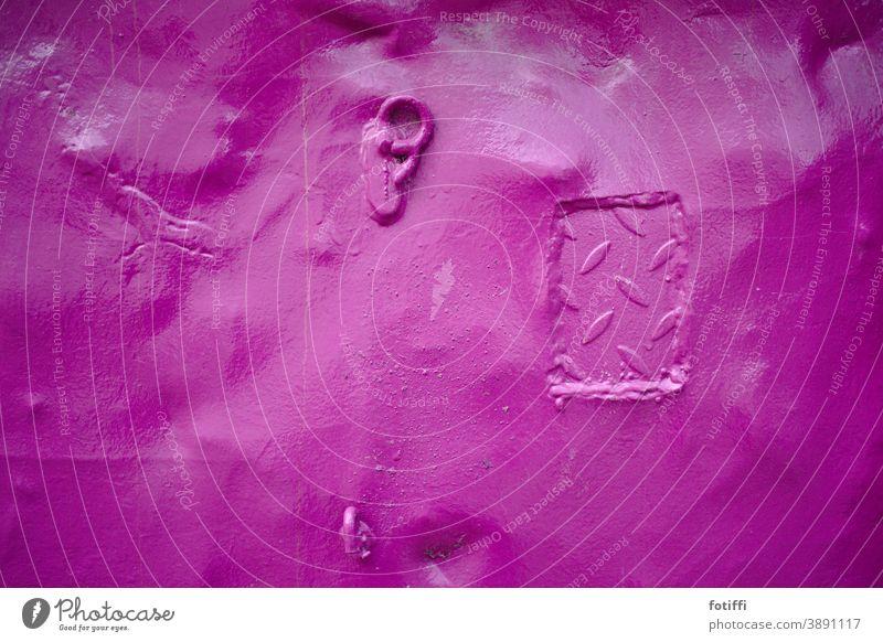 Hast du mal ein Ohr für mich? Container mulde Stahl pink knallig Strukturen & Formen Metall Menschenleer Muster abstrakt Detailaufnahme verbeult abgenutzt alt