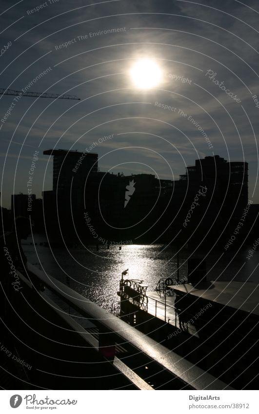 Sunset harbor basin Wasser Wasserfahrzeug Hafen Düsseldorf