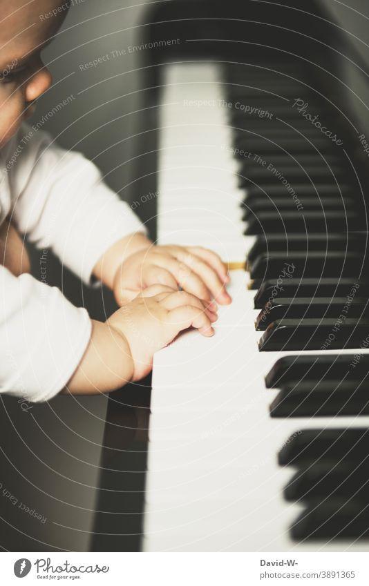 Kleinkind am Klavier Kind erkunden Musik Musikinstrument niedlich spielen neugierig vorsichtig interessiert Kultur Kindererziehung Klavier spielen Finger Hände
