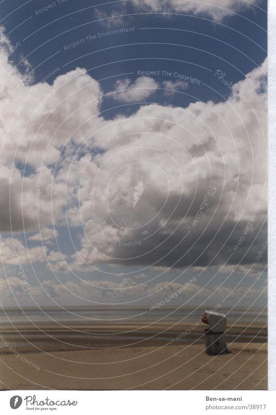 Sky Himmel Strand Ferien & Urlaub & Reisen ruhig Wolken Einsamkeit Denken Europa Frieden Nordsee Strandkorb ungestört Ebbe Ausgrenzung St. Peter-Ording