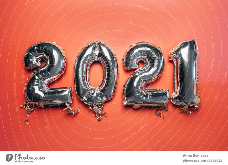 Ballonfahnen, Neujahr 2021 Luftballon Silber Vorabend Nummer Termin & Datum Januar feminin rosa Dekoration & Verzierung Weihnachten Glitter glänzend Kalender
