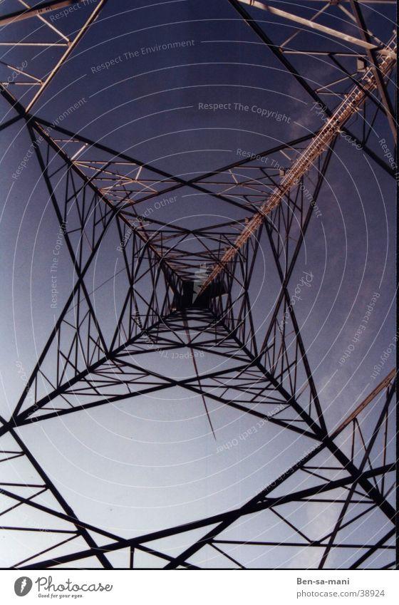 Starkstrom Elektrizität Spinnennetz Stahl Licht Elektrisches Gerät Technik & Technologie Gefangner Himmel Aussicht Netz Irrgarten Natur und Technik Ben