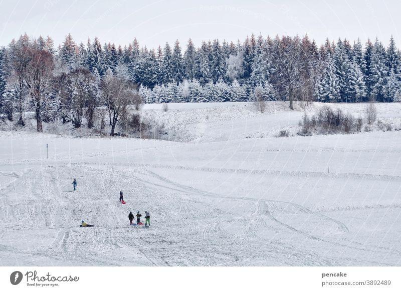 ski und rodel gut! Winter Kinder Schlitten rodeln schlittenfahren freudig Hügel Schnee zu Hause Rodeln weiß Mensch Spielen kalt Freude Kindheit Daheim Allgäu