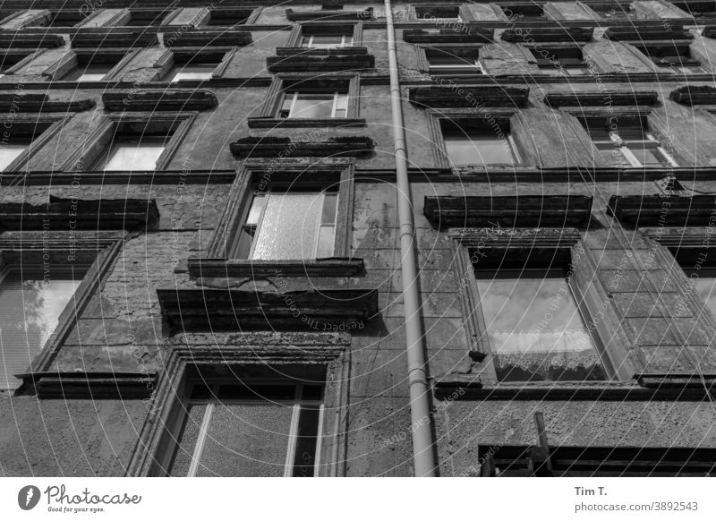eine alte Hausfassade in Berlin Prenzlauer Berg Fenster Hinterhof Hof Innenhof Stadt Menschenleer Tag Stadtzentrum Altstadt Hauptstadt Altbau Außenaufnahme