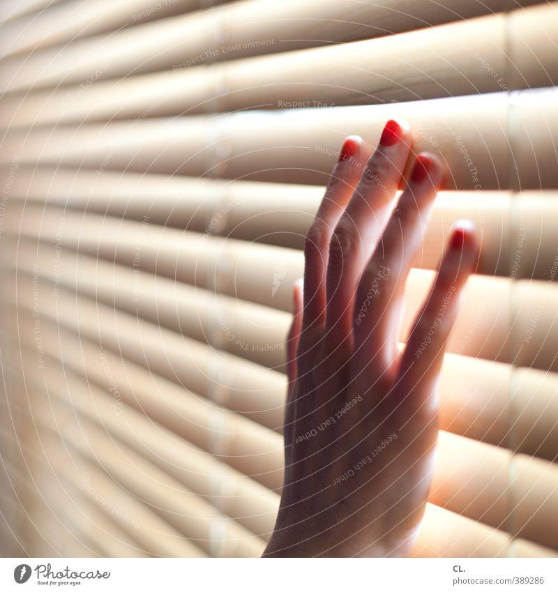 berührung Mensch Frau Jugendliche Hand rot Einsamkeit 18-30 Jahre Erwachsene Gefühle feminin Traurigkeit träumen Wohnung Raum Häusliches Leben Finger