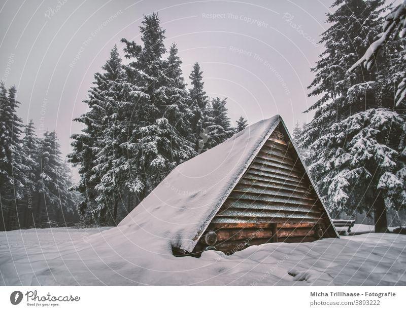 Verschneite Hütte im Thüringer Wald Thüringen Schneekopf verschneit Winter Winterlandschaft Holzhütte Schutzhütte Bäume Himmel Urlaub Landschaft Natur