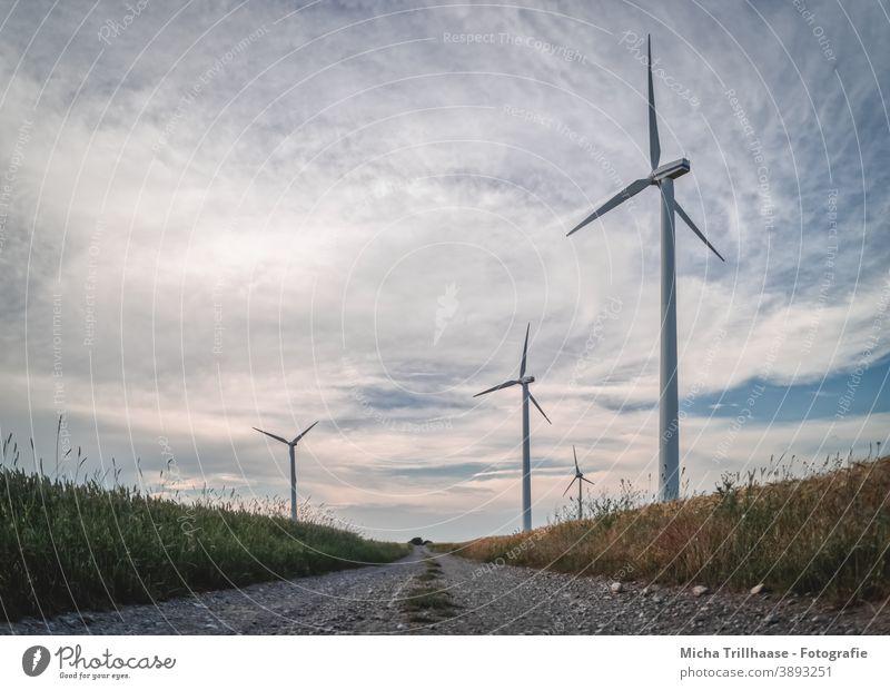 Windräder entlang des Feldweges Windkraftanlage Erneuerbare Energie Technik & Technologie Energiewirtschaft Elektrizität Strom Nachhaltigkeit Landwirtschaft