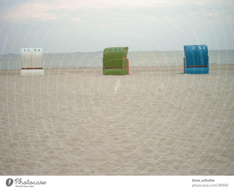 Strandkörbe Meer Strandkorb Ferien & Urlaub & Reisen Europa Nordsee Sand
