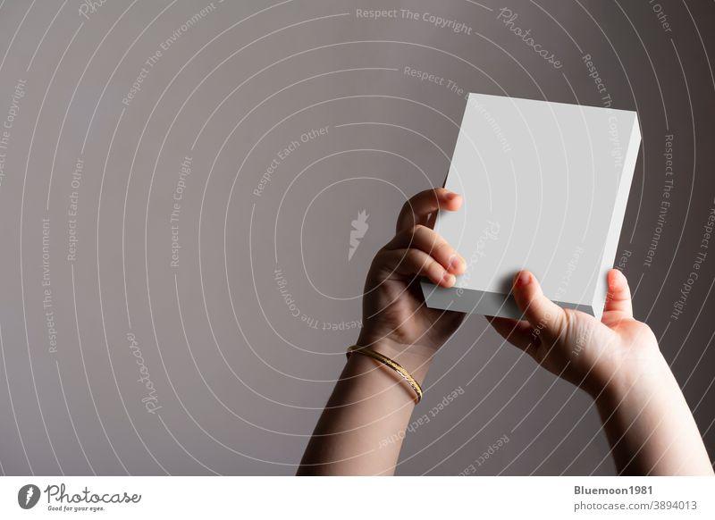 Kleines Mädchen hält eine Schachtel in der Hand Attrappe editierbar ersetzen. kleines Kind Kasten Beteiligung Design blanko weiß Produkt Inserat korporativ