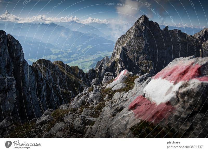 Aufstieg Grimming Gipfel Berge Österreich wandern Berge u. Gebirge Alpen Landschaft Natur Außenaufnahme Farbfoto Ferien & Urlaub & Reisen Felsen Ausflug