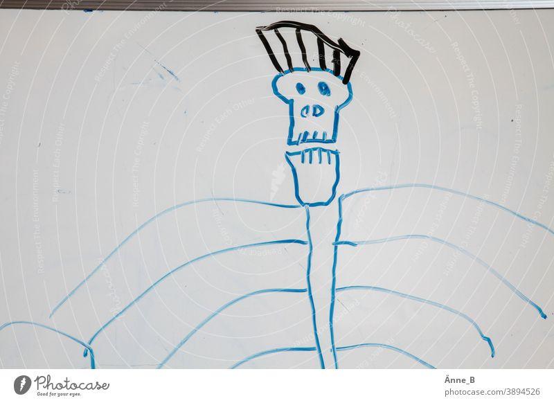 Sein oder Nichtsein – Kinderzeichnung: Totenkopf totenkopf Schädel Gerippe Rippen Irokesen-Schnitt Tod Kunst Zeichnung whiteboard Tafel Pirat Skelett gruselig