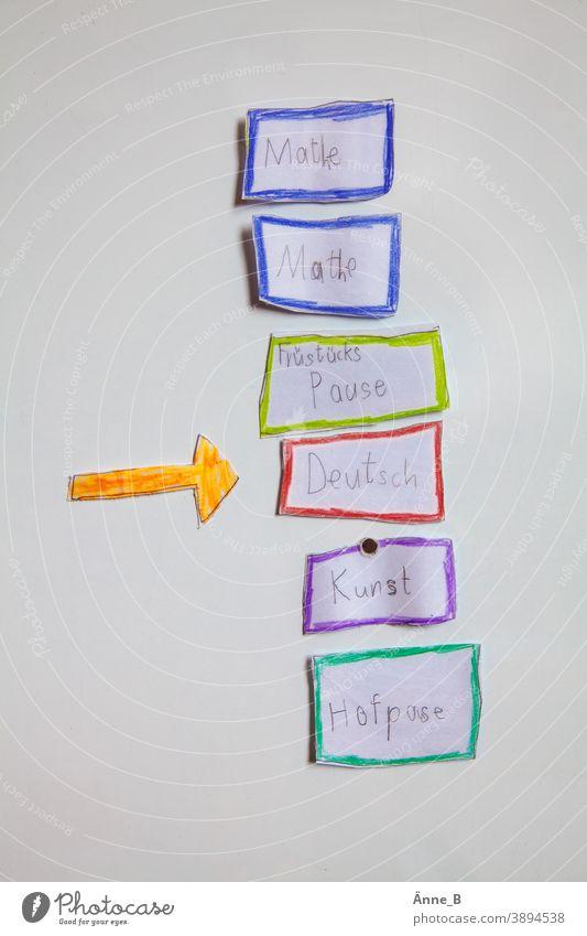 Deutschunterricht – Tagesübersicht Mathe Mathematik Frühstückspause Kunstunterricht Hofpause Tagesordnung Unterricht Tafel magnetisch Magnet Magnettafel Schule